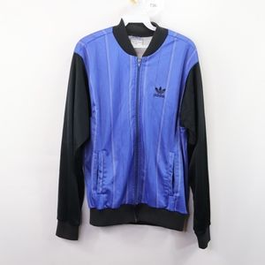 80s Adidas Mens Medium Spell Out Track Jacket Blue